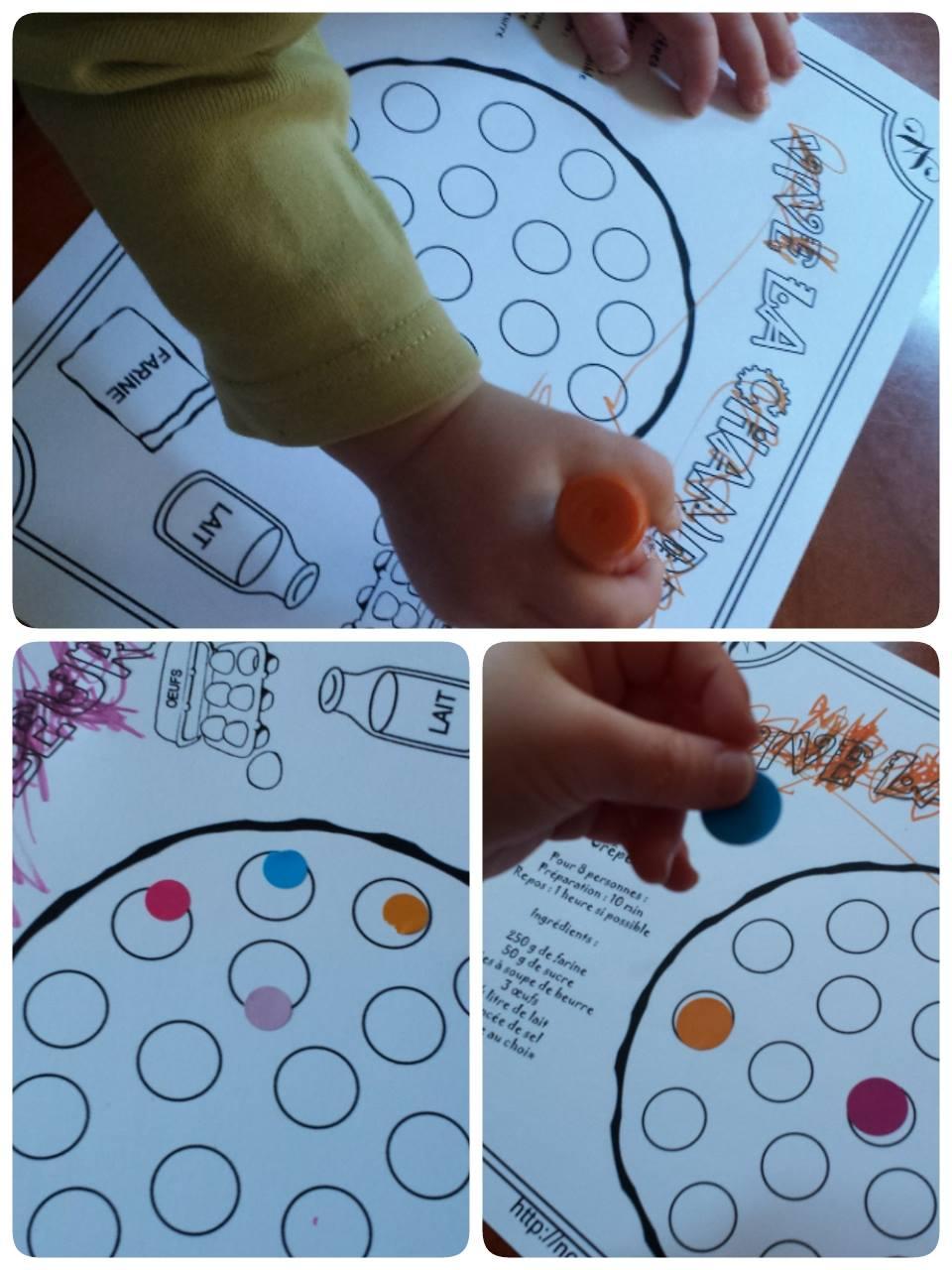 la ronde des chérubins, blog, la chandeleur, collage de gomettes sur la crêpe