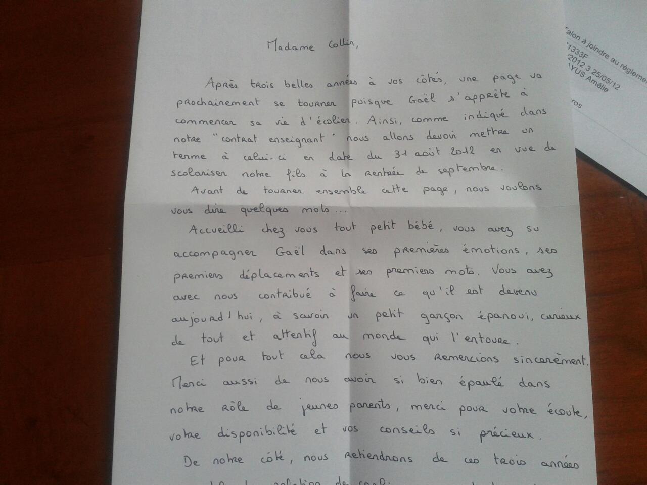 lettre de remerciement fin de contrat