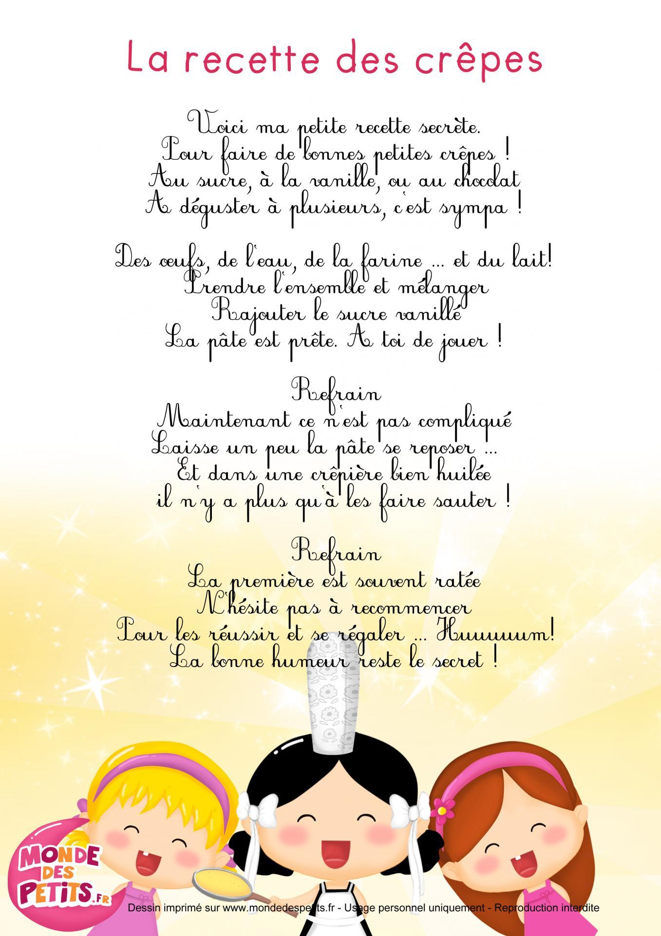 Comptine crepe chandeleur, assistante maternelle Villeparisis, blog